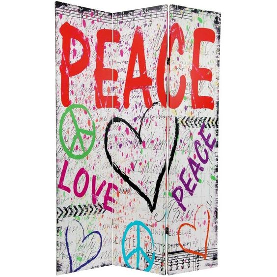 6 ft. Tall Double Sided White Peace & Love Room Divider (125 CAD) ❤ liked on Polyvore featuring home, home decor, panel screens, art, backgrounds, effects, furniture, room divider, white home accessories and retro home decor