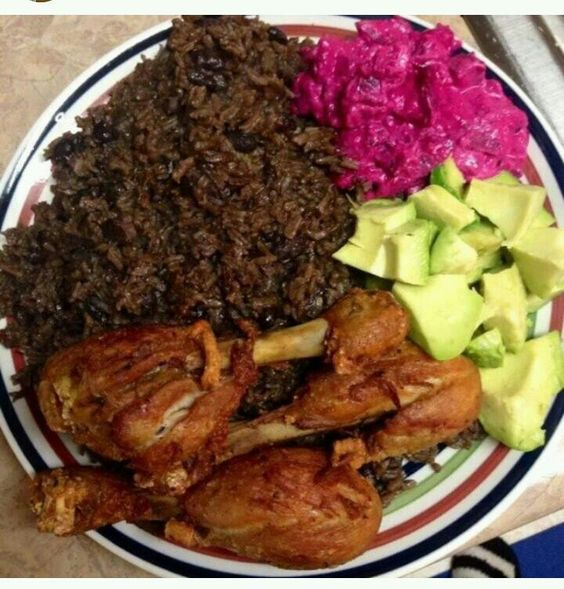Authentic Haitian food: poule frit