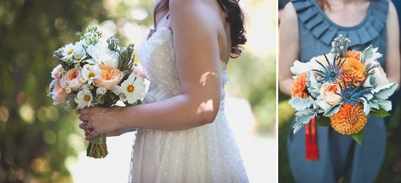 Really cool and unusual bouquets with succulents- Tori + Matt's Laughter Filled Wedding: Heritage House Farm and Gardens