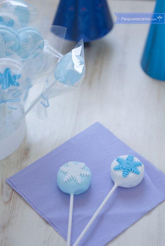 oreo-pops glaseadas para una fiesta de frozen