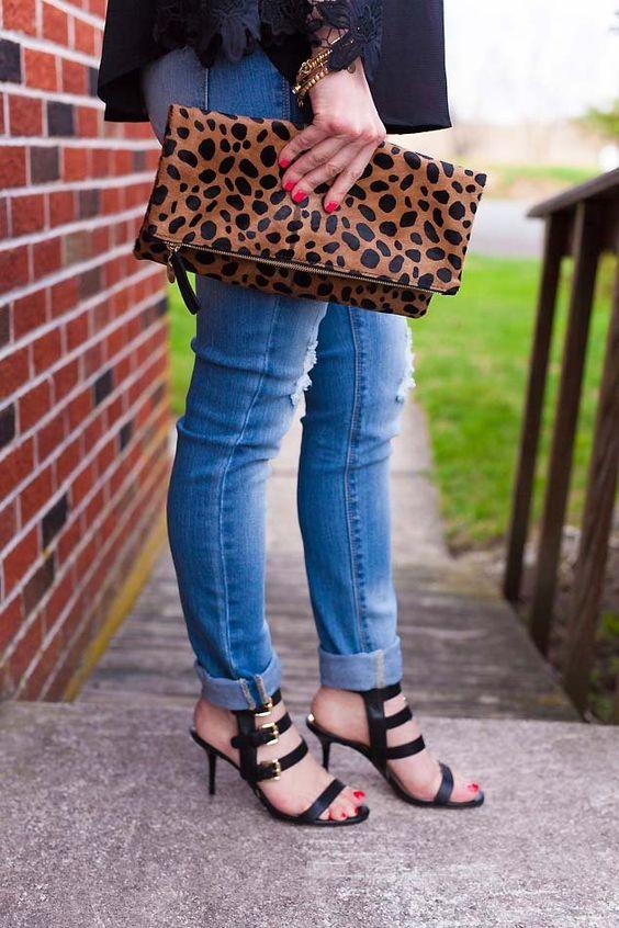 leopard clutch and black sandals // LipglossandLabels.com