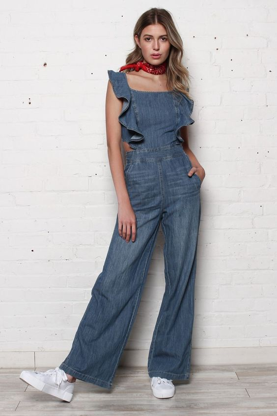 Manda Wide Leg Ruffle Jumpsuit- Denim