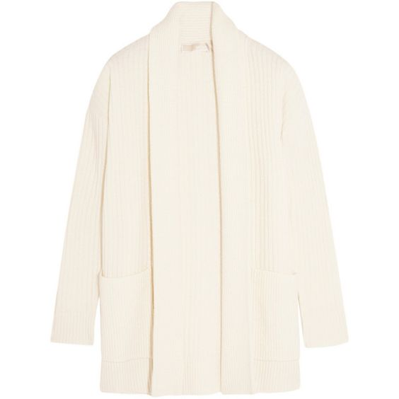 MICHAEL Michael Kors Ribbed merino wool and cashmere-blend cardigan (6 815 ZAR) ❤ liked on Polyvore featuring tops, cardigans, michael kors, oversized white top, white open front cardigan, oversized open front cardigan, relaxed fit tops and over sized cardigan