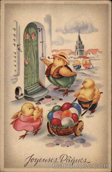 Joyeuses Paques - Vintage Postcard Chickens Easter Eggs: