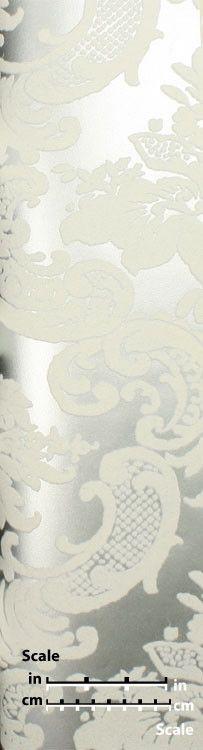 Classical Damask Velvet Flocked Wallpaper in Pewter and White from the | BURKE DECOR