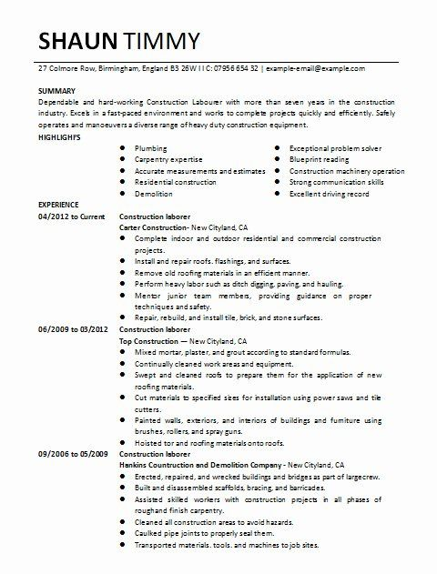 Entry Level Construction Resume Unique Construction Labor Resume Sample 1 In 2020 Job Resume Samples Job Resume Medical Assistant Resume
