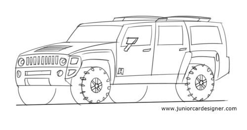 How To Draw A Hummer Suv Car Drawing For Kids Pinterest