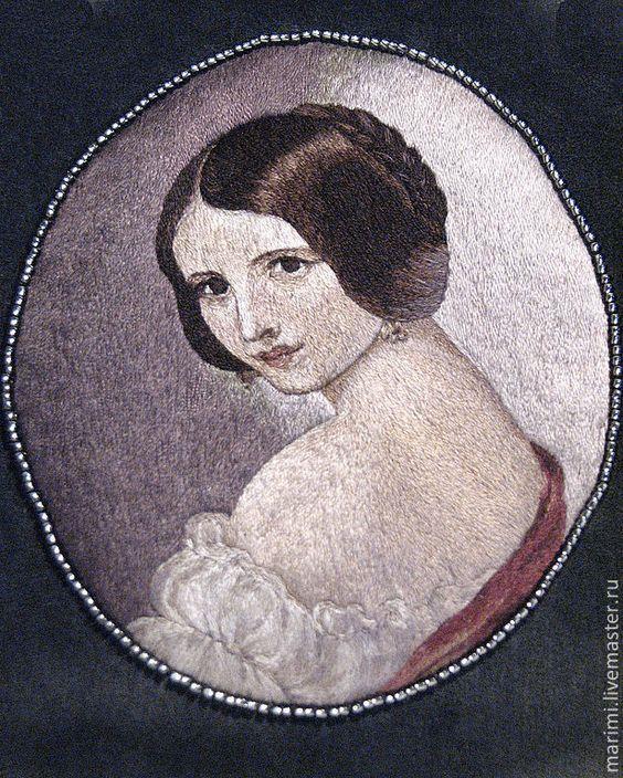 Портрет вышивка гладью