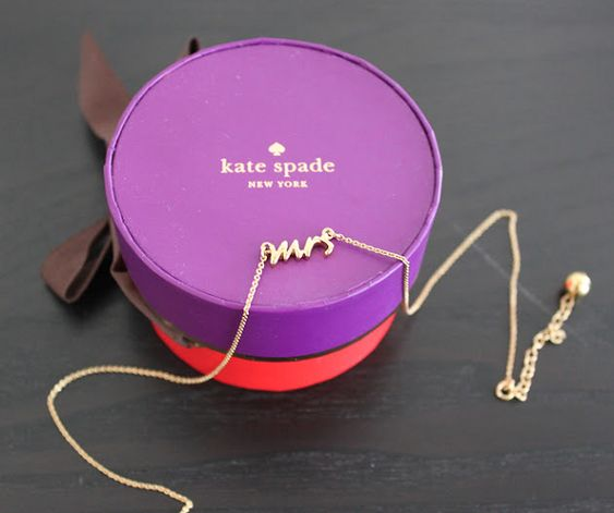 "Because after more than 20 years together I am still thrilled to be his...""Mrs"" Necklace (Gold) / Kate Spade NEW YORK"