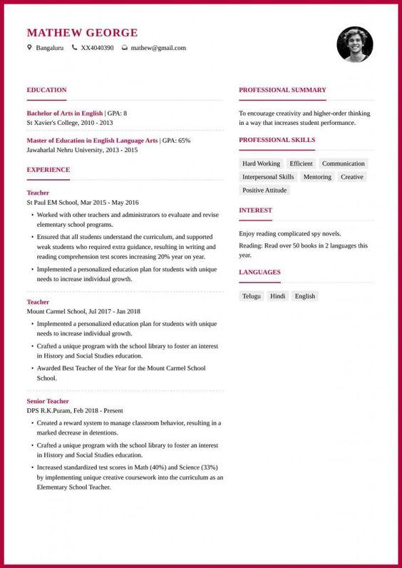 Teacher Resume Format 2021 Teacher Resume Template Teacher Resume Teaching Resume