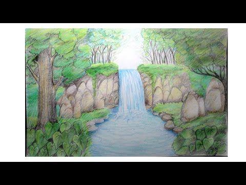 11 Lukisan Pemandangan Hutan Belantara Cara Menggambar Pemandangan Alam Air Terjun Download Pohon Sebagai Objek Penciptaan L Di 2020 Pemandangan Gambar Air Terjun