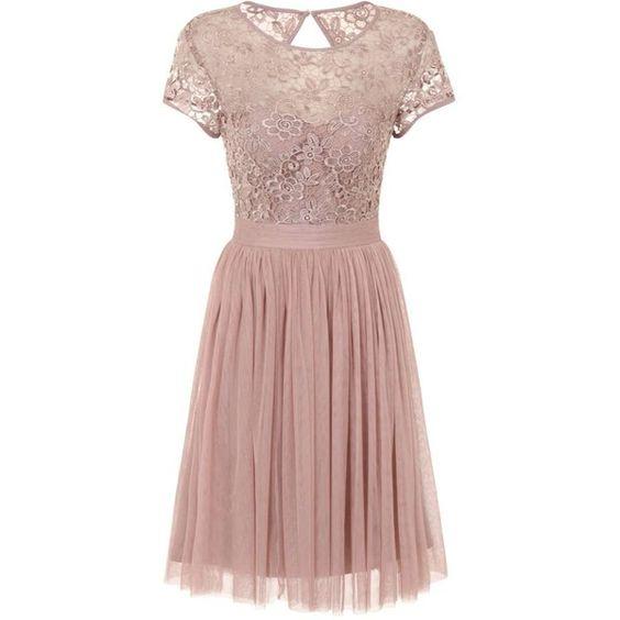 **Little mistress midi dress ($79) ❤ liked on Polyvore featuring dresses, brown, keyhole midi dress, mid calf dresses, calf length dresses, little mistress and brown lace dress