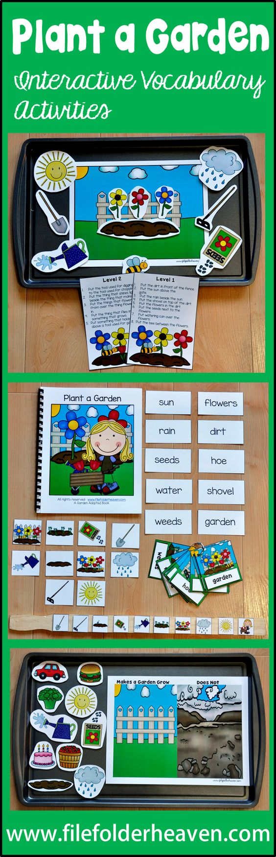 """""""Plant a garden. Watch it grow. Grab the shovel! Grab the hoe!""""  The """"Plant a Garden"""" Adapted Books Unit is a spring themed unit that focuses on garden vocabulary. This unit includes 2 adapted books, 3 file folder games, 2 cookie sheet activities, 1 clothespin task and 1 set of vocabulary handwriting sheets.  This unit has just been UPDATED!!!  (1/2016)  In addition to all of the above activities, this unit now includes an updated adapted book and 4 new vocabulary extension activities."""