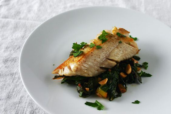 pan seared cod with rainbow chard