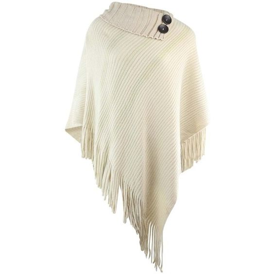 Ivory Knit Turtleneck Poncho With Long Fringe & Button Trim ($30) ❤ liked on Polyvore featuring outerwear, ivory, poncho shawls, poncho shawl, knit shawl, long poncho, knit poncho and turtleneck tops