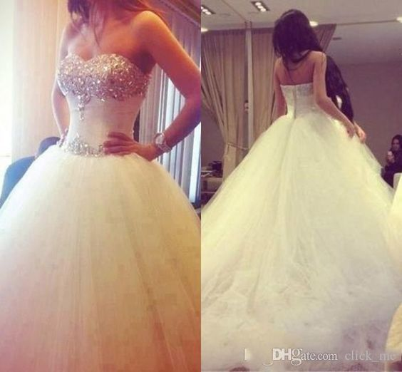 Wholesale Ball Gown Wedding Dress - Buy Ball Gown Wedding Dress 2015 Back Zipper Beads Rhinestones Tiered Sweetheart Wedding Dresses Ruched Chapel Train Tulle Bridal Gown, $140.16 | DHgate.com