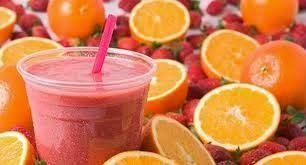 Orange Sunrise Shakeology Recipe - 1 scoop vanilla Shakeology, 1/2 cup orange juice, 1/2 cup unsweetened almond milk, 1 tsp vanilla extract, 4 pineapple chunks, 2 strawberries, add ice to taste.  Directions:  Blend and Enjoy! #Shakeology #GetFit2StayHealthy