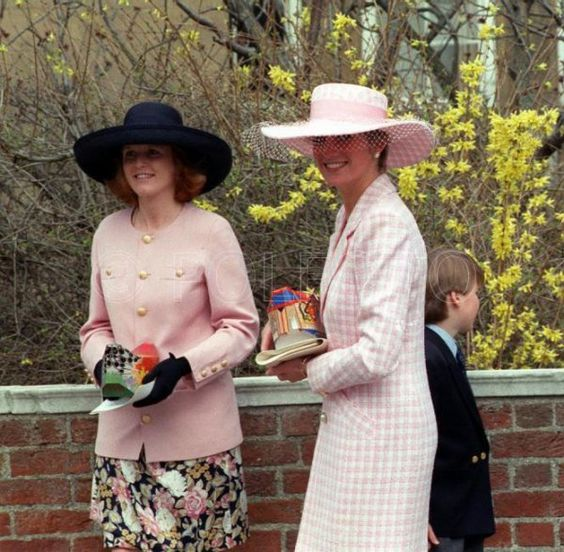 Diana wearing a similar style hat compared to the previous pic. Duchess of York and Princess of Wales March 30, 1991