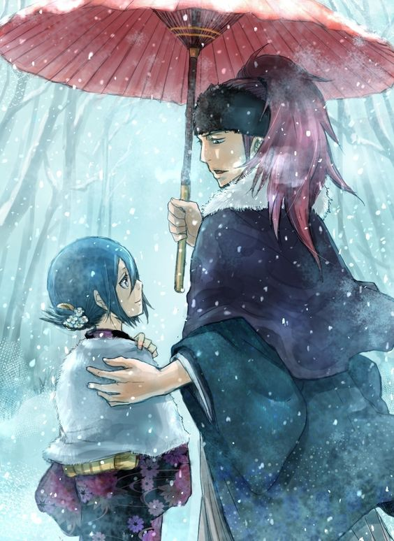Rukia & Renji | 雪の道、二人 | めいたろう [pixiv] http://www.pixiv.net/member_illust.php?mode=medium&illust_id=40393491