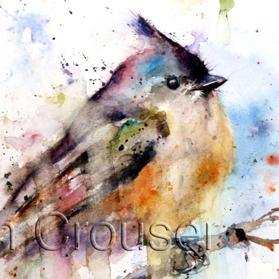 TUFTED TITMOUSE Watercolor Print by Dean Crouser by DeanCrouserArt, $25.00
