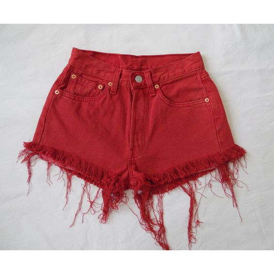 High Waisted Denim Levis 501 Shorts Vintage Red Jean Shorts Cut ...