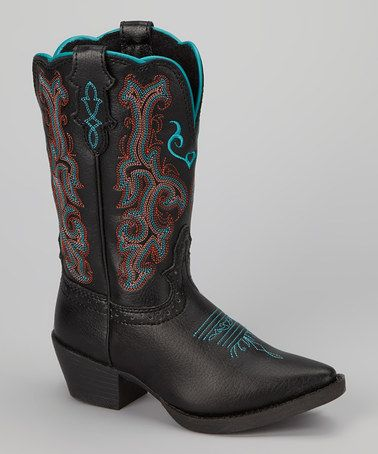 Justin Boots Black & Teal Deercrow Cowboy Boot - Kids | Cowboy ...