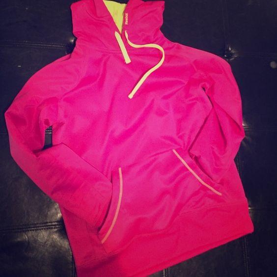 Hot pink reebok hoodie Super light weight hot pink and lime green hoodie Reebok Sweaters