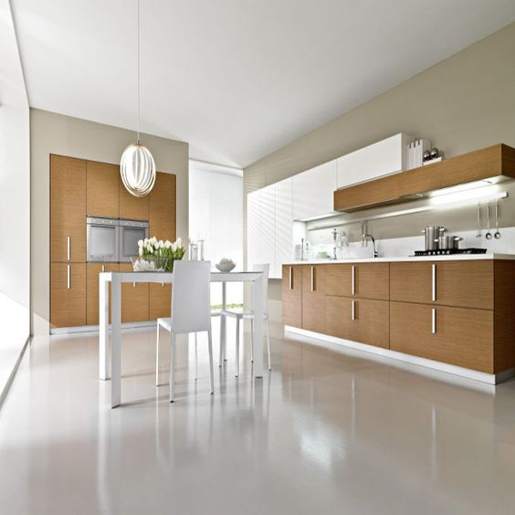Contemporary Kitchen Flooring: Marmoleum Real In Sheet Format Color Edelweiss Would