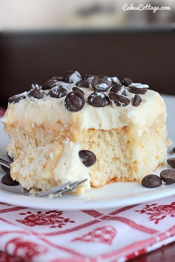 Cake With Chocolate Condensed Milk : Cannoli Poke Cake Recipe Poke cakes, Chocolate chips ...