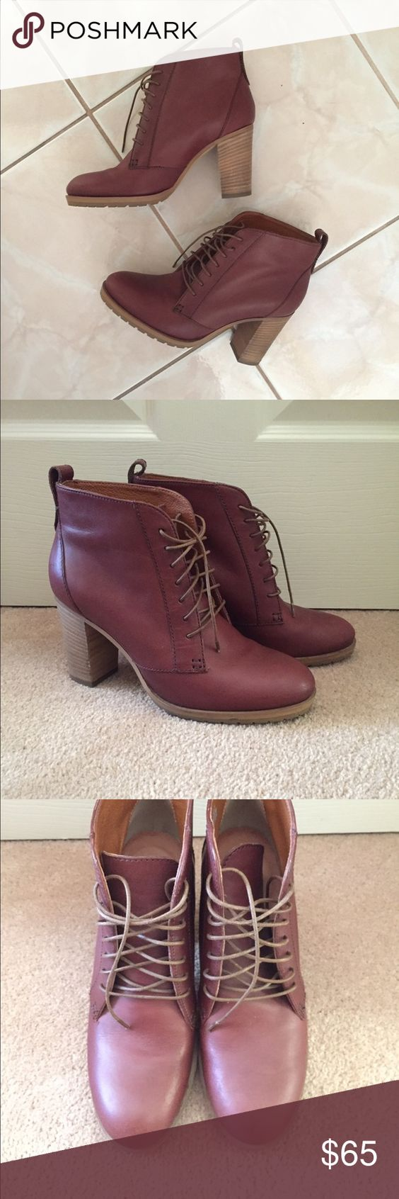 """Leather Madewell heeled lace-up ankle boots Super cute pair of lace up ankle booties from Madewell, in size 36. Made of real leather and in great condition, hardly worn. The heel is about 2.5"""" tall. The color is a reddish burgundy brown. Madewell Shoes Ankle Boots & Booties"""