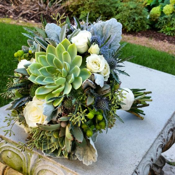 You couldn't fit more texture in this bouquet. #bellefiorimke #milwaukeeflorist #weddingflowers #bridalbouquet #bridesmaids #localflowers #locallygrown #succulents #thistle #texture