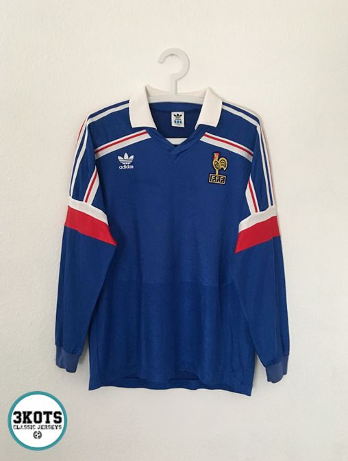 Platini France 1988 89 Retro Football Shirt M L Adidas Vintage Soccer Jersey Adidas France In 2020 Retro Football Shirts Football Shirt Designs Football Shirts