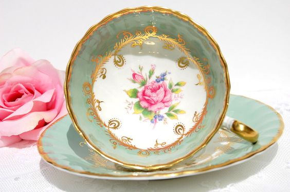 Antique  Aynsley Tea cup and Saucer, English Fine Bone China Tea  Set .Green & Gold with Pink Roses Tea Cup. Tea Party, Bridal Shower, Favor by EcoIdeology on Etsy https://www.etsy.com/listing/203736651/antique-aynsley-tea-cup-and-saucer