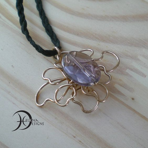 Amethyst flower necklace in gold filled wire art, Amethyst flower pendant, Wire art flower,  Gold flower pendant, Wire art jewelry by Helenadesignsart on Etsy