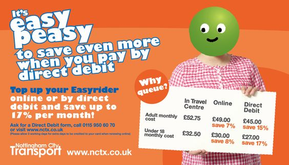 Adult City Card Nottingham City Transport Pinterest City - direct debit form