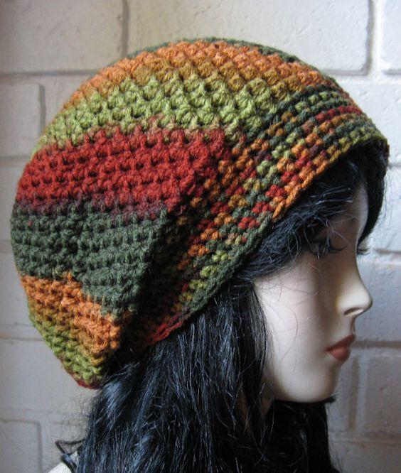 Red Orange Green Fall Hand Croche Hat Rasta Beanie Slouchy ...