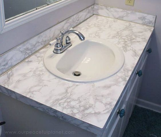 Instant Peel And Stick Self Adhesive Countertop White Marble