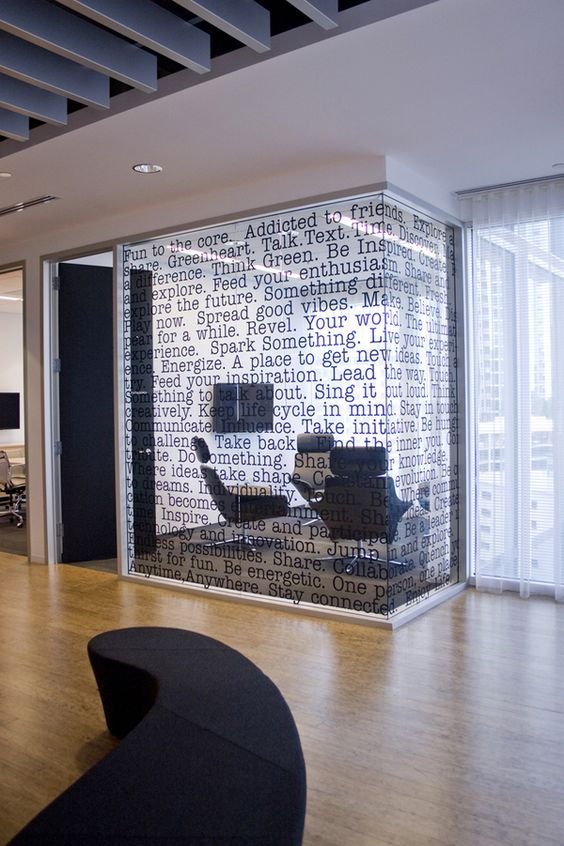 This would be cool to do in the library using literary quotes on the walls of group study rooms.
