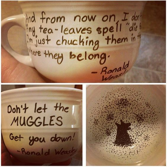 Harry Potter coffee mug with the Grim inside and Ron Weasley quotes on the outside. Thanks @amandakay10!!!