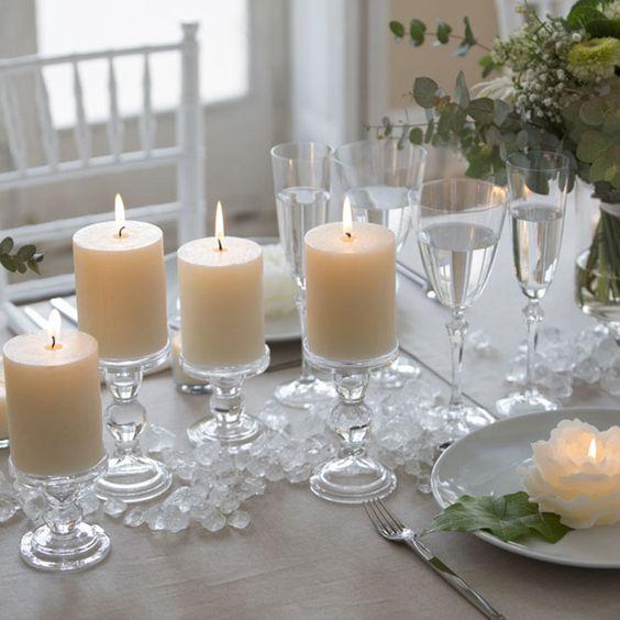 Porta velas de cristal candelabro madrid para eventos y - Portavelas cristal ...