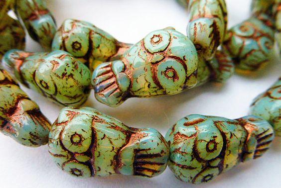 10 Beautiful Mint Green Opal Owl Glass Beads with by alohabead