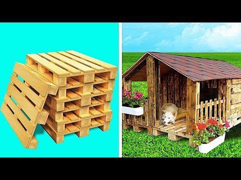 Dog House With Wooden Pallets Huge Diy Projects Youtube In 2021 Dog House Diy Outdoor Outdoor Dog House Dog House Diy