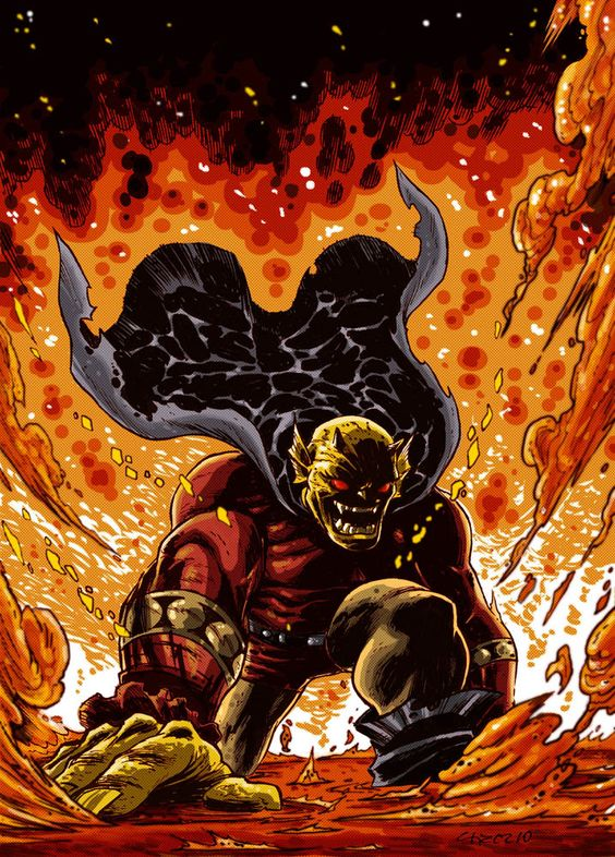Etrigan is a demon of Hell bonded to a man named Jason Blood, who usually acts on the side of good despite his violent tendencies. They were bonded together in Camelot by the wizard Merlin as a punishment, imprisoning Etrigan and making Blood effectively immortal. Despite sharing the same body, they are usually at odds with each other and Blood retains a lot of guilt based on Etrigan's demonic actions. Etrigan's most distinctive trait is only being able to speak in rhyme.