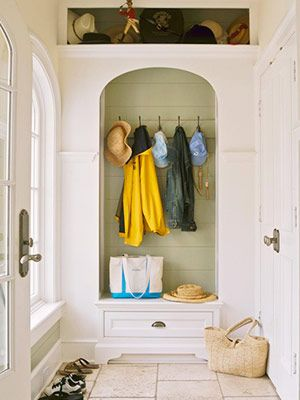 Maybe part of the garage could be walled off as a mudroom like this?