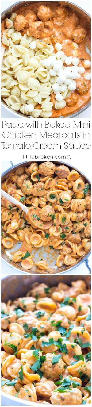 Easy skillet pasta dinner with BEST juiciest mini chicken meatballs in a tomato cream sauce | littlebroken.com @littlebroken