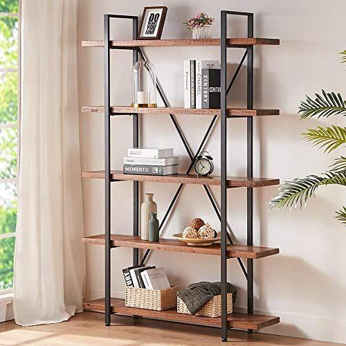 Bookcase Mid Century Modern 5 Open Shelves Bookshelf Wood Display Tall Etagere