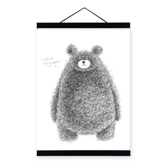 Moderne minimalistische zwart wit kawaii beer grote a4 a3 poster afdrukken originele dier canvas - Teen moderne ruimte van de jongen ...