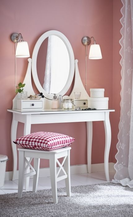 Hemnes dressing table with mirror white vanities for Ikea hemnes vanity table