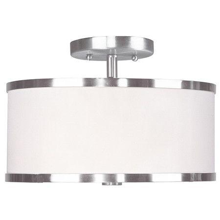 2-light semi-flush mount in a chrome finish.     Product: Semi-flush mount  Construction Material: Glass and har... Hall, Nursery