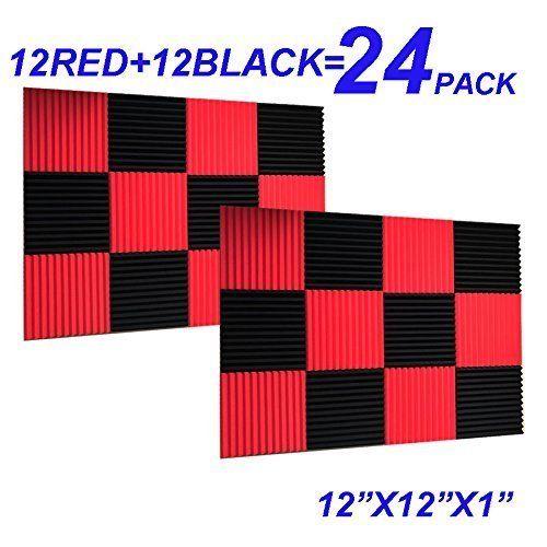 24 Pack Black Red 1 X 12 X 12 Acoustic Wedge Studio Foam Sound Absorption Wall Panels Twoelevengear Studio Foam Sound Absorption Wall Panels